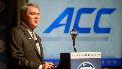 ACC Commissioner John Swofford addresses the media during the 2015 ACC Football Kickoff in Pinehurst, N.C., July 20, 2015. Photo by Sara D. Davis, theACC.com